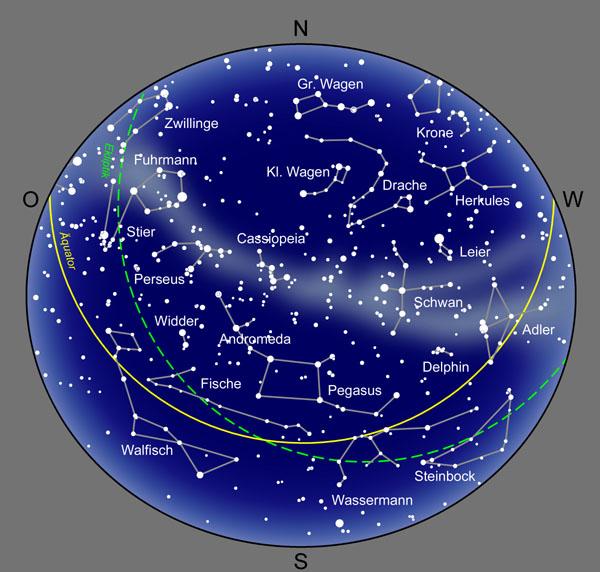 sternbilder karte Der Abendsternhimmel sternbilder karte