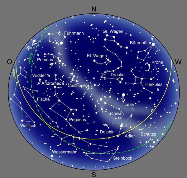 sternenhimmel karte Der Abendsternhimmel sternenhimmel karte
